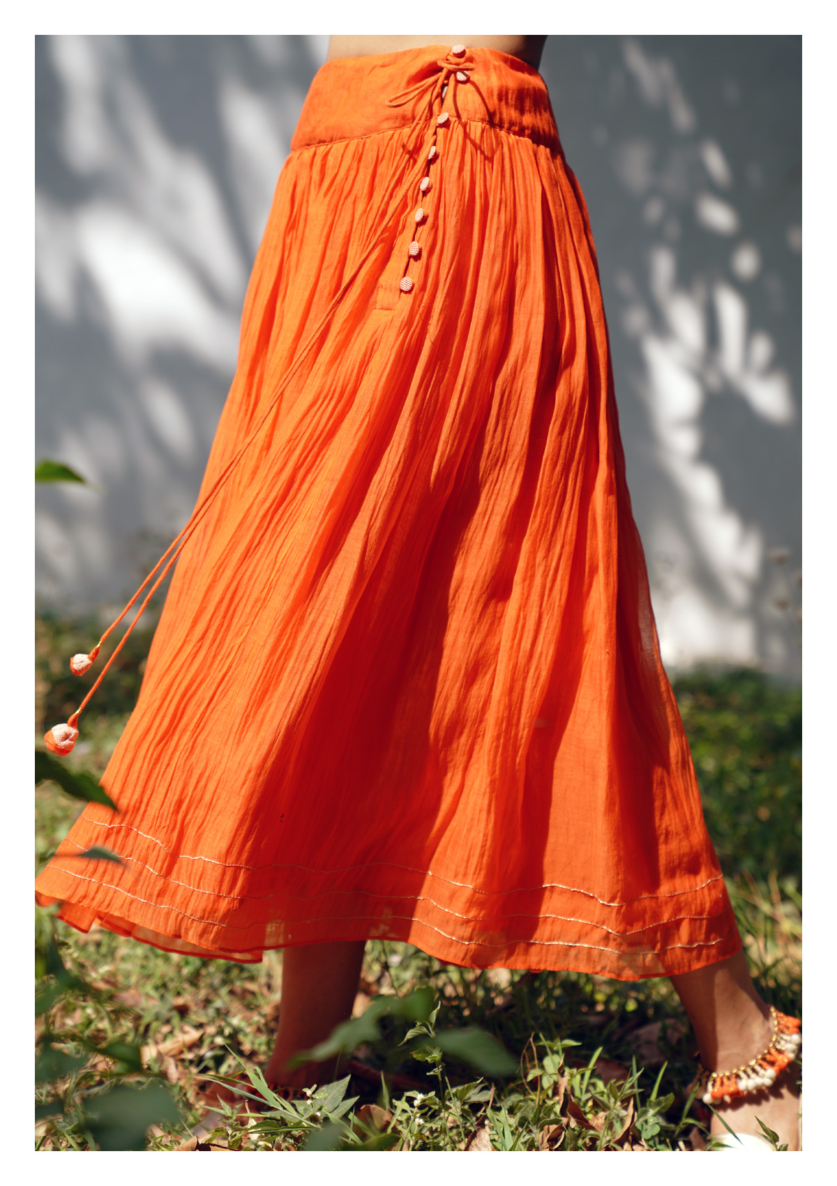 Sundaze Blaze Orange Blouse Skirt Set