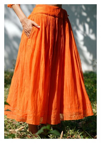 Strawflower Orange Chanderi Skirt