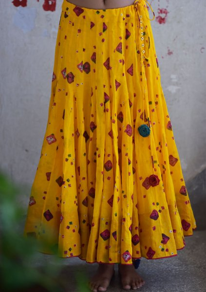 Suraji Yellow Kalidar Cotton Ghagra Skirt