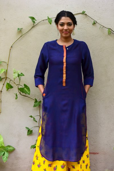 Syahi Blue Chanderi Long Kurta