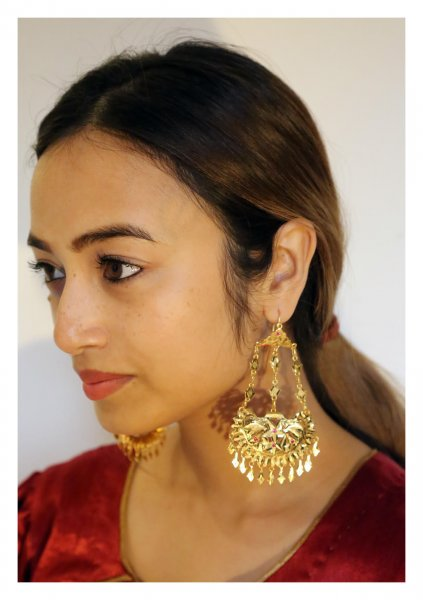Rukhsana Handmade Gold Tone Silver Earrings