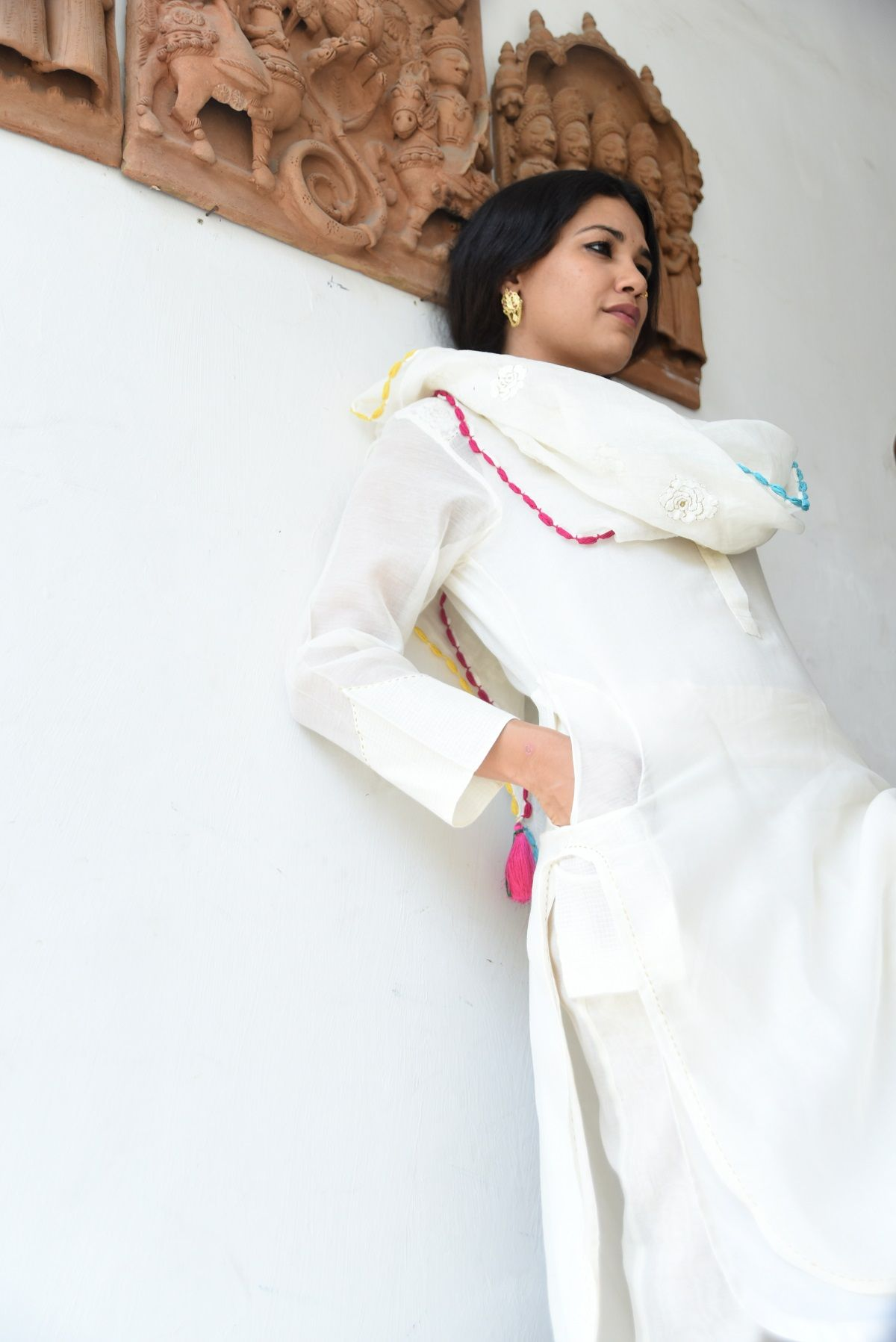 Vachi Off white Chanderi Long Kurta