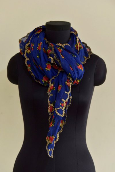 Neela Blue Flower Print Cotton Scarve