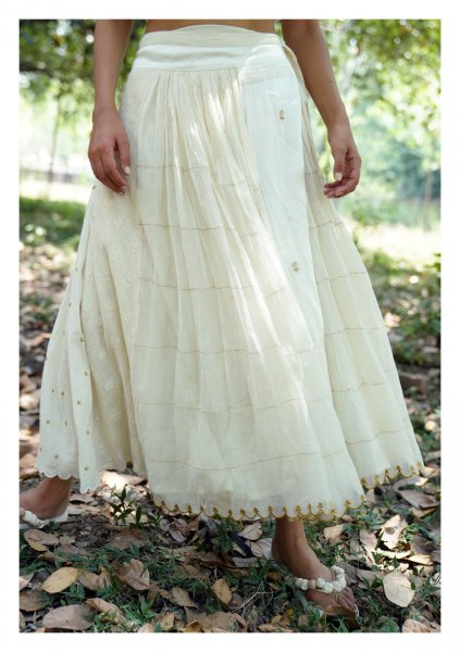 Madonna Chanderi Wrap Skirt