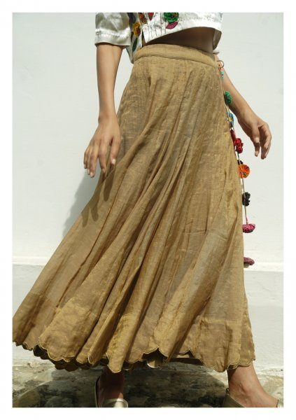 Gold Leaf Chanderi Tissue Ghagra