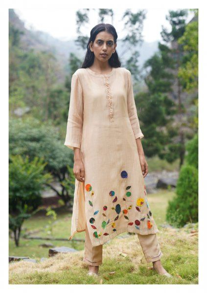 Song Chanderi Kurta Pants Dupatta Set