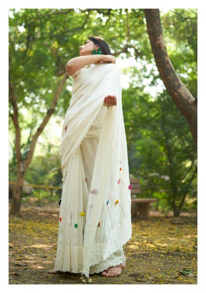 Nursery Romance Applique Chanderi Saree