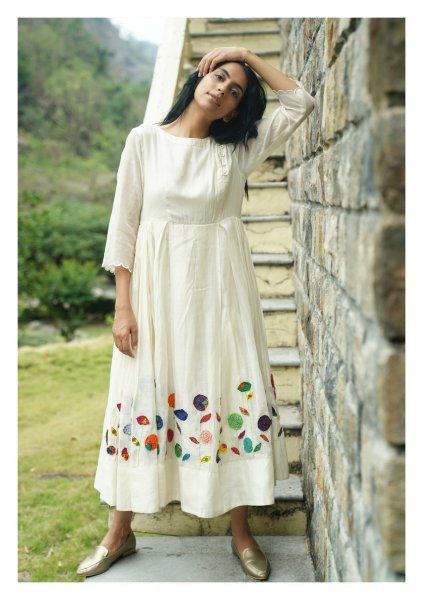 Lawn White Chanderi Dress