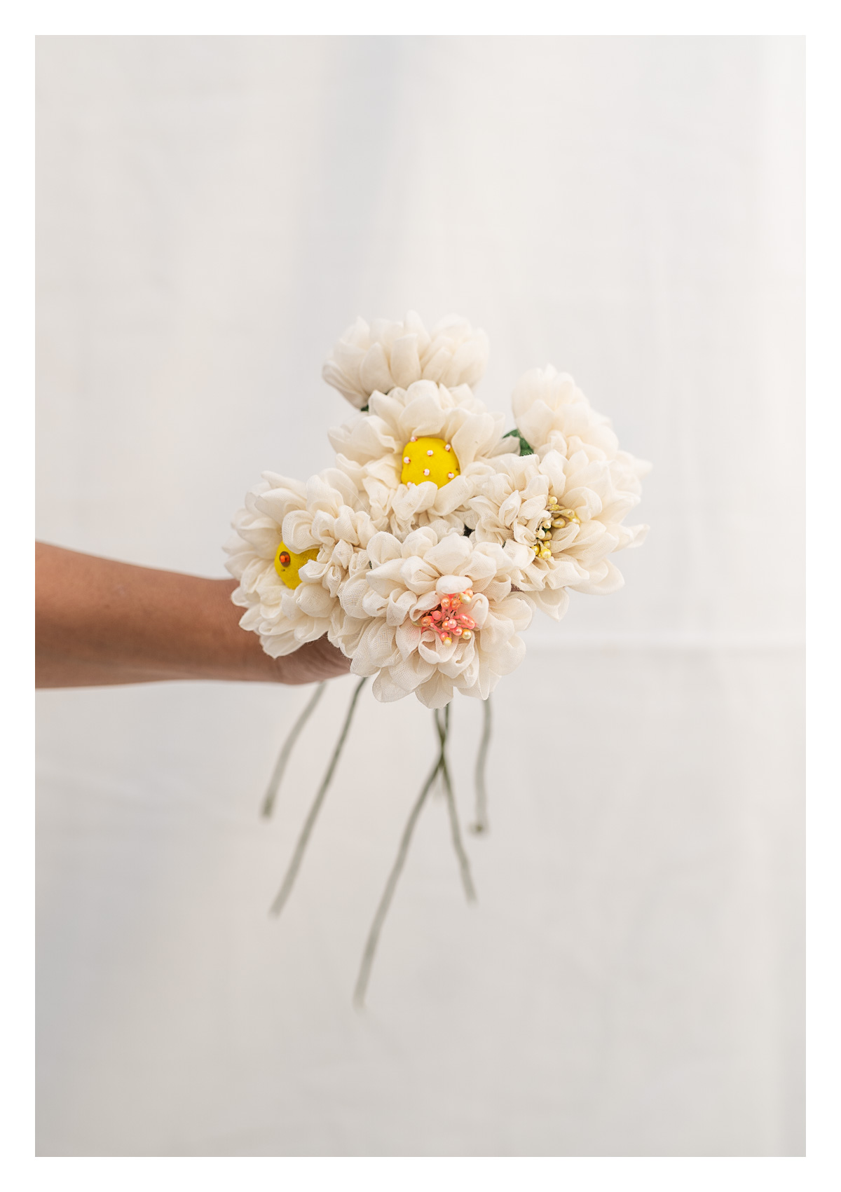 White Handmade Textile Flowers Bunch