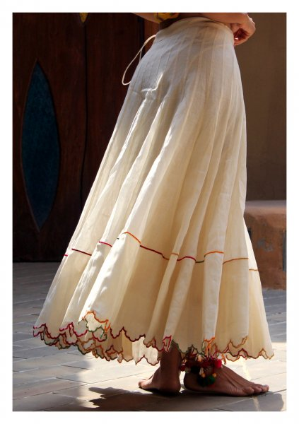 Afra Off White Flared Chanderi Skirt