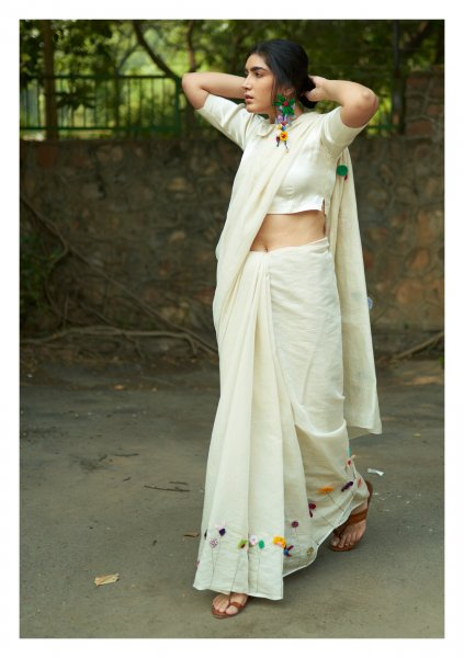 Lovers Applique Chanderi Tissue Saree