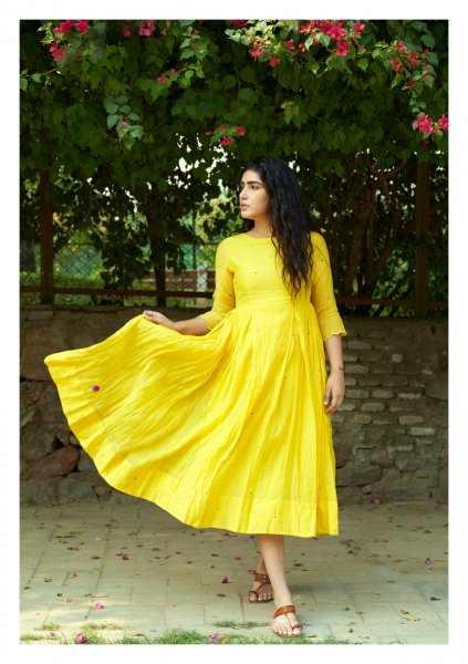 Feria Yellow Chanderi dress