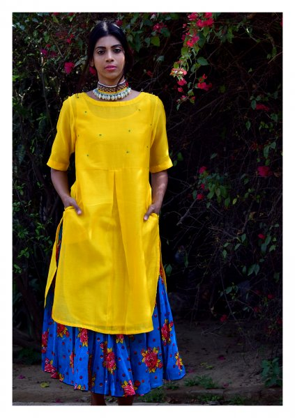 Mikka Yellow Turquoise Kurta Skirt Set