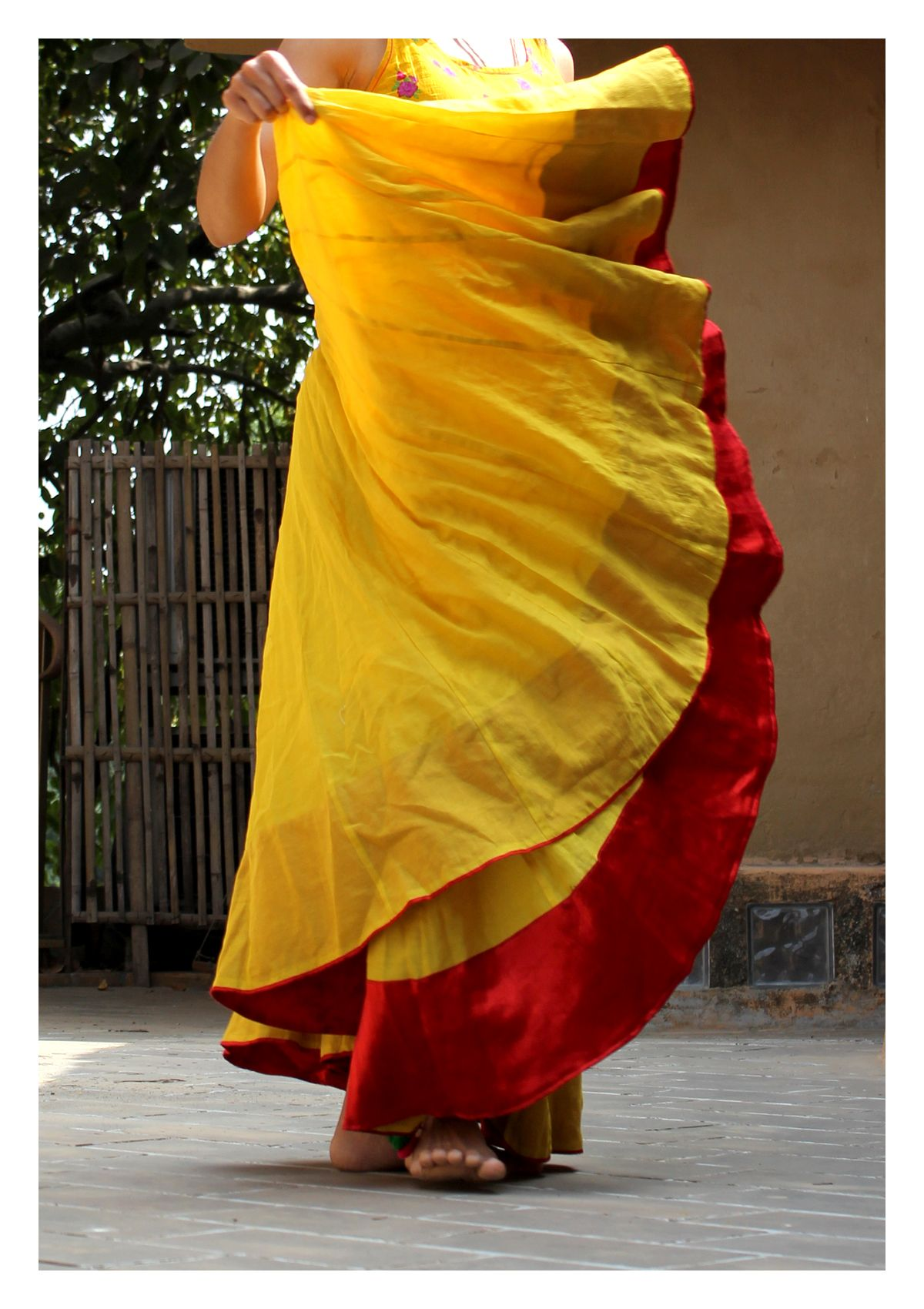 GOPI YELLOW CHANDERI FLARED SKIRT