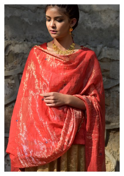 Zarau Red Chanderi Tissue Dupatta